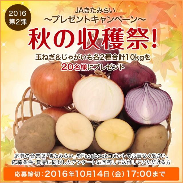 JAきたみらい キャンペーン2016 第二弾★ 秋の収穫祭! 玉ねぎ&じゃがいも各 2種 合計10kgプレゼント