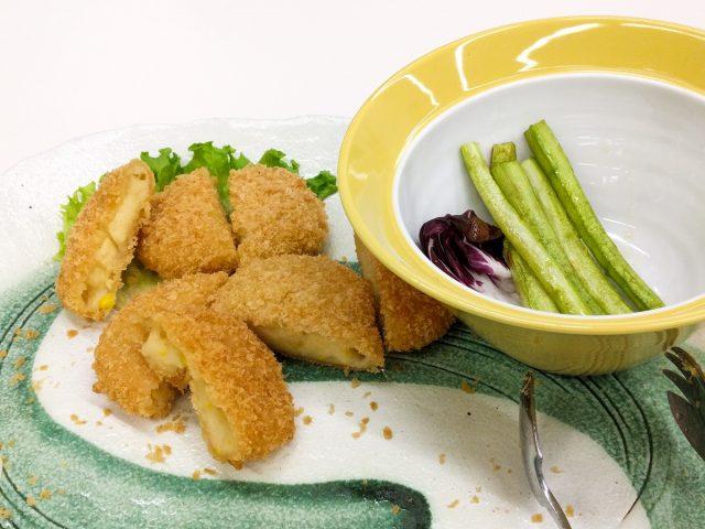 白花豆コロッケとグリーンアスパラガス