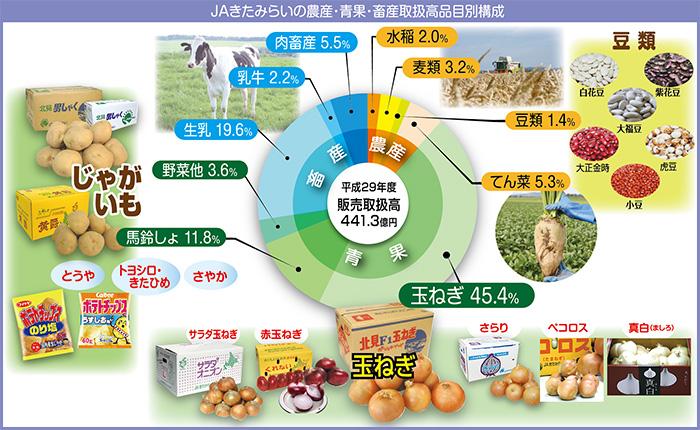 JAきたみらいの農産・青果・畜産取扱高品目別構成